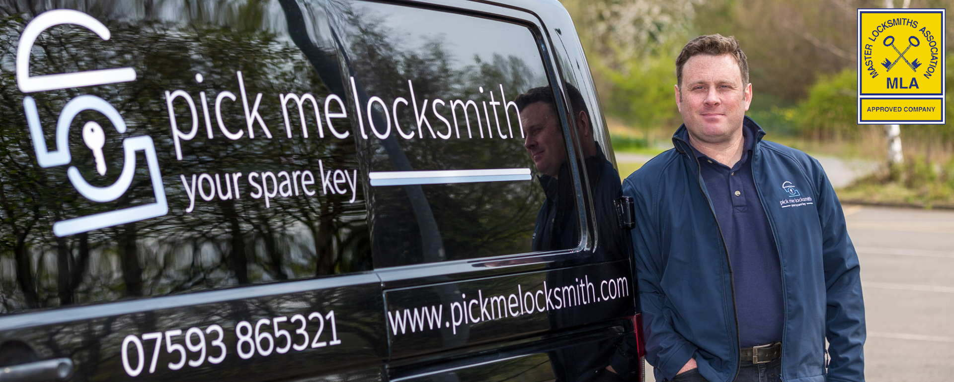 Mark Santi By his van showing his local locksmith service Mark Santi Master Locksmith Locksmiths Leicester Locksmith Near Me